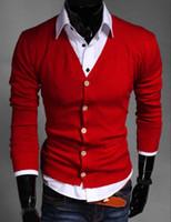 cardigans rojos para hombre al por mayor-Al por mayor-Nueva primavera Moda para hombre Suéteres Hombres Marca de algodón Slim fit súper delgada con cuello en V Cardigan suéter rojo / azul / amarillo al por mayor