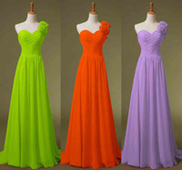 Wholesale Cheap Lime Green Gowns - Cheap One Shoulder Chiffon Honor of Maid Dresses A line Black Red Lime Blue Yellow Lilac Bridesmaid Evening Party Gowns 2015 In Stock