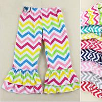 girls striped ruffle leggings 2018 - DHL Free Ship 2016 Baby Girls Cotton Rainbow Ruffles Leggings Pants Toddlers Children Baby Kids Girls Ruffle Leggings With Ruffled