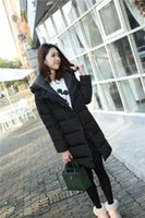 Wholesale Duck Knitting - Fashion Knit Collar Hooded Loose Coat Long Slim Solid Women Down Parkas Hooded Winter Warm Outerwear Clothes Hooded White Duck Down Jacket