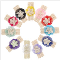 Wholesale importing hair accessories resale online - Imported yarn flower hair band baby baby lace soluble flowers headdress hair accessories
