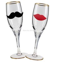 Wholesale Lips Mustache Decorations - Chalkboard Vinyl Sticker 48 Labels Wedding decoration Mustache and Red Lips , Labels stickers Free shipping