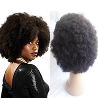 bakire brezilya afro peruk toptan satış-Kısa Afro Kıvırcık Tam Dantel İnsan Saç Siyah Kadınlar Için Brezilyalı Bakire Saç Dantel Ön Peruk African Amerikan Doğal Hairline 130% Yoğunluk