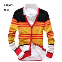 Wholesale New Design Sweater For Men - Wholesale-2015 New Brand Casual Fashion Sweater Bright colors v-neck jacquard sweater men Personalized Design Cardigan for Men 45