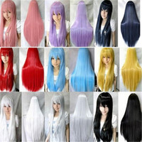 Wholesale Blonde Black Mix Cosplay Wigs - WoodFestival long straight wig Pink Silver Black Blue Brown Red Yellow White Blonde Purple cosplay wig fiber hair wigs with bangs 80cm