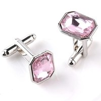 Austrian Big Pink Crystal Shirt Abotoaduras Men Women Silver Cuff Botões Casual French Cufflinks Gift For Boyfriend Party Dress