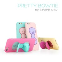Wholesale Iphone 5s Bow - For Apple iPhone 5S 6 6plus 6S 6S Plus Cases Fashion Lovely Girl Candy Cartoon Butterfly Bow Kickstand 1pcs Free Shipping