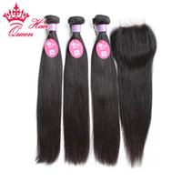 Wholesale Elite Natural Human Hair - Malaysian Virgin Hair With Closure Straight Human Hair Weave Lace Closure With Bundles 4Pcs Lot Elites Hair Products With Closure