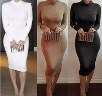 Wholesale Wholesale Plus Size Bodycon - Winter Soft Cotton Stretch Black Party Dresses Plus Size Skinny Sexy Club Wear Gorgeous Warm Maxi Bandage Bodycon Dress