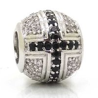 Barato Grandes Contas De Prata Cruz-New Black Cross Beads, Silver European Charms Beads, Micro Pave Black CZ Large Hole Metal Beads Para Pandora Chamilia Style Bracelets Making