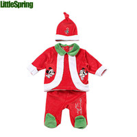 Wholesale Merry Christmas Baby - Wholesale-Christmas baby clothing set baby girls winter festival cute 3 PC merry Christmas long sleeves coat trousers+hats suits