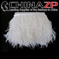 Wholesale wholesale ostrich feather trim - CHINAZP Crafts Factory 10yards lot 10~15cm(4~6inch) in Width Top Quality Bleached White Ostrich Fringe Feather Dress Trim for Party