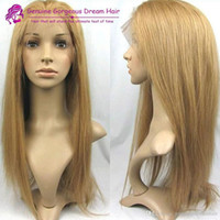 Wholesale 27 Baby Hair Wig - Brazilian Human Hair Honey Blonde #27 Lace Front Wigs Silky Straight Human Hair Wigs With Baby Hair Natural Hairline