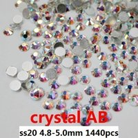 Wholesale 1440pcs crystal AB ss20 mm crystal glass Rhinestone flatback rhinestones silver foiled