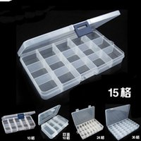 Wholesale Plastic Box Storage For Nails - Via Fedex EMS, Empty 15 Compartment Plastic Clear Storage Box For Jewelry Nail Art Container Sundries Organizer, 120PCS