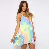 Wholesale Tie Dyed Dresses For Women - Rainbow Women Beach Dress 2015 Tie Dye Spaghetti Strap Sleeveless Dresses Hippie Boho Summer Clothes For Women FG1510