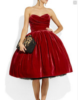 Wholesale Tea Length Retro Tulle - ntage Retro Ball Gown Layered Velvet Red Evening Dresses 2015 Winter Tea Length Party Gowns Strapless Pleated Custom Prom Gown