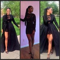 Wholesale Taffeta Coat Dress - Sexy Two Piece See Through Black Lace And Taffeta Short Prom Dress Long Sleeves Detachable Coat Floor Length evening Pageant Dress