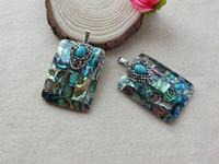 collar de turquesa abalone al por mayor-5 Unids Pavimentado Crystal Turquoise Beads Remolino de Concha de Abulón Natural para DIY Collar de Los Encantos de La Joyería Que Hace SC27