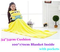 6 Stili Minion 34 * 34cm Cuscino con tasche con coperta da 100 * 170 centimetri in pile morbido all'interno Tovaglia portatile Plaid Throw
