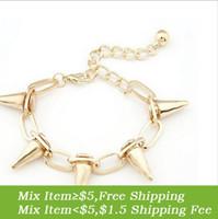 Wholesale Rivet Jewellery - Wholesale-S040 (Min order $5 mix) fPunk Spike Bracelet Rivets Bracelet Punk Bracelet Fashion Jewellery Free Shipping