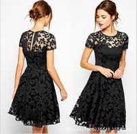 Night Out & Club Pleated Dresses Autumn New Evening Party Hot Sell Women Ladies European Sexy Lace Dress Short Sleeve Autumn Dresses Plus Size free shipping
