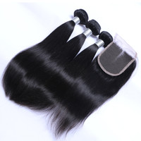 Wholesale lace closure top piece - Brazilian Virgin Remy Human Hair 3 Bundles with Lace Top Closures Malaysian Peruvian Indian Cambodian Mongolian Straight Hair Weaves Closure