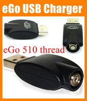 Wholesale Ecig Battery Adapters - Wireless eGo USB Charger Electronic Cigarette battery charger black usb charge adapter for all ego 510 thread battery e cig ecig e-cig FJ001