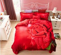 Wholesale Big Rose Bedding - Luxury Big Red Rose Full Of Fresh Dew Realistic 3D Printed 4 Pieces Bedding Sets 100% Cotton 2015 Winter New Arrival 3D Bedding Supplies