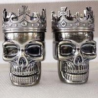 ingrosso sbrinatore del tabacco del cranio-120pcs Herb Metal Grinders per Tobacco King Skull Design Herbal Grinders Accessori per mani per Smoking Pipes 7.5X3.4cm