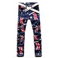 Wholesale Union Jacks Pants - New Brand 2015 Autumn Winter Men Union Jack Printed Leisure Pants Slim Fit Long Straight Trousers Plus Size 28 29 30 31 32 33 34 FG1511