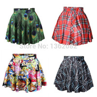 Wholesale Purple Plaid Skirt Girls - Fashion Girl Women's Black Milk Peacock Feather Cartoon Adventure Time Plaid Deathly Hallows Digital Printing Skirt MK26