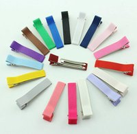 Wholesale Single Prong Ribbon - wholesale price Alligator Hair Clips for Girls Headwear Single Prong Ribbon Grosgrain Hairpins Kids Hair Band Accessories 20 colors