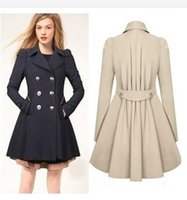Wholesale Slim Fit Lady Jackets - Womens Elegant Warm Coat Slim Fit Double-breasted Trench Long Jacket Dress Style Outwear Sweety Lady Overcoat Peacoat