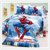 Wholesale Spiderman Duvet Covers - New Store Sale! 50% OFF Amazing Spiderman Bedding 4 Pieces Twin Single Duvet Quilt Cover Sheet Set for Boys Bedding