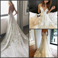 Wholesale classic simple sexy wedding dresses for sale - Group buy 2020 New Classic A Line Wedding Dresses Sexy Spaghetti Straps Backless Summer Beach Wedding Gowns Appliqued Open Back Bridal Vestidos
