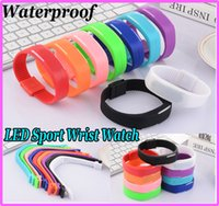 Wholesale Screen Color Squares - Candy Color Silicone LED Waterproof Sport Wrist Watch Strap Square Dial Digital Display Touch Screen Rubber Belt Bracelet 9 colors