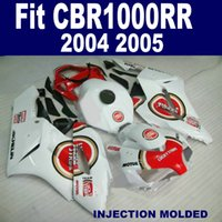 Wholesale Honda Rr Plastics - Injection mold ABS bodykits for HONDA 2004 2005 CBR 1000 RR white red LUCKY STRIKE fairing kit CBR1000RR 04 05 plastic fairings XB60