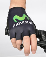 Wholesale Gloves Movistar - Wholesale-HOT!2015 pro team movistar cycling gloves breathable summer bicicleta bike half finger cycling gloves size M-XL