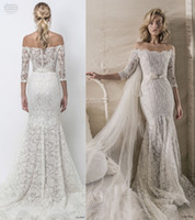 Wholesale Custom Fit Flare Dresses - elegant fit and flare mermaid wedding dresses 2018 lihi hod bridal three quarter sleeves off the shoulder full embellishment
