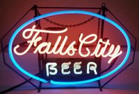 """Wholesale Vintage Glass Tubes - Vintage 1940s Falls City Beer Neon Sign Handcrafted Custom Real Glass Tube Neon Bar Disco KTV Club Pub Advertisement Display Sign 26""""X14"""""""