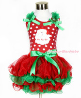 Wholesale Girl Spot Dress - New Rare Editions Brand 90-130cm Girl White Spots Lace Santa Claus Christmas Bow TUTU Dress Free Shipping 5 pieces lot