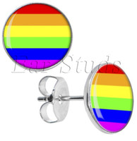 Atacado 50pcs / lot Cirúrgico Aço Rainbow Stripe Ear Stud Earrings Cheater Plugs Diâmetro 10mm * 16g ZCST-004