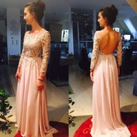 Sexy Backless Lange Prom Kleid Billig Blass Rosa Womens Cocktailkleid A-Line Langen Ärmeln Spitze Perlen Illusion Kleid Party Abend