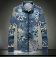 Wholesale Men S Dress Jeans - New Men Denim Shirts 2015 Spring Brand Casual Floral Printed Mens Dress Shirts Men Slim Fit Long Sleeve Jeans Shirts Blue Xxxxl