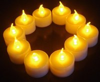 Wholesale Tea Light Candles Colors - 3.5*4.5cm Battery operated Flicker Flameless LED Tealight Tea Candles Light Wedding Birthday Party Christmas Decoration 6 colors to choose