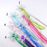 Wholesale Magic Colours - 7 color Girls Fever snowflake Magic Wand new children princess gem Coloured ribbon Magic Wand B