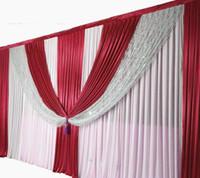 ingrosso palloncini bianchi giallo rosa-DHL spedizione gratuita 3 * 6 m paillettes tenda sullo sfondo di nozze con lo sfondo swag / decorazione di nozze romantico tende di seta del ghiaccio