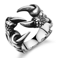 Wholesale Dragon Claw Ring Jewelry - Wholesale-Fashion Accessories Punk Chrome Jewelry Titanium Steel Dragon Claw Heart Party Rings for Men