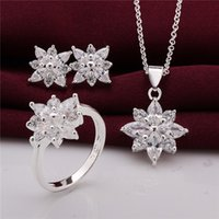 Wholesale Silver Pendant Ring Earrings Set - 925 Sterling Silver Jewelry Set beautiful flower pendant necklace & earrings & rings with Zircon Christmas send his wife   girlfriend gift